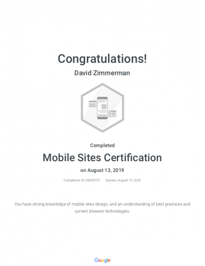 David Zimmerman has earned Google's Mobile Sites Certification